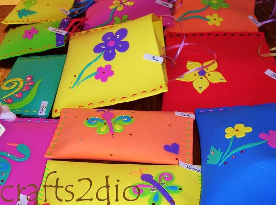 Colourful Goody Bags/ Pouches made of foam sheets , great as return gifts for kids birthday parties.