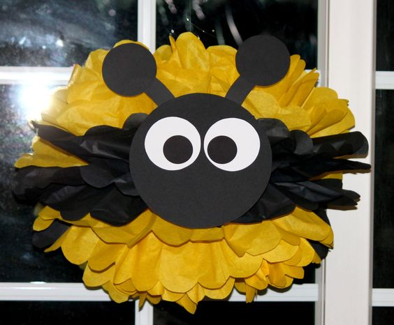 Bumble Bee Bumblebee pom pom kit baby shower first birthday party decoration. $9.99, via Etsy.