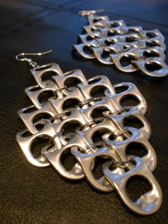 I had actually made a pair of these but sold them :)  pop tab crafts | Pop Tab Earrings Silver/Gray XL. $4.50, via Etsy. | Pop Tab Crafts