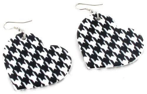 Houndstooth Heart Earrings