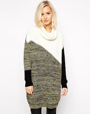 Enlarge River Island Color Blocked Cowl Neck Sweater