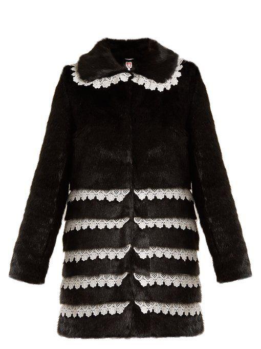 Shrimps Sol lace trimmed faux fur coat | Womens faux fur