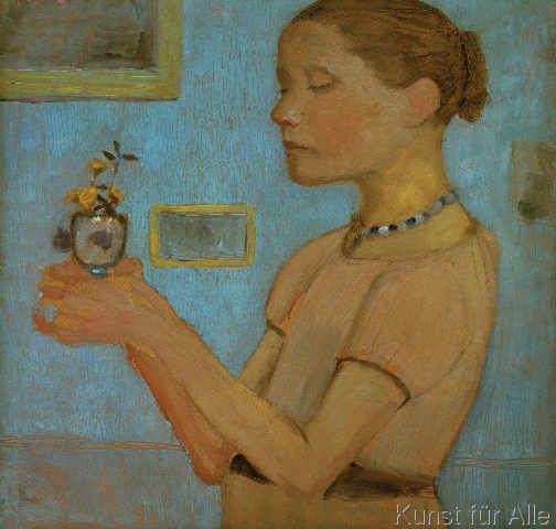 Paula Modersohn-Becker - Junges Mädchen mit gelben Blumen im Glas