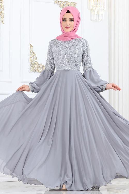 Modaselvim Abiye Kemerli Balon Kol Abiye Ech7308 Gumus Dengan Gambar Model Baju Wanita Gaun Formal Gaun