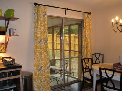Replace vertical blinds with beautiful curtains