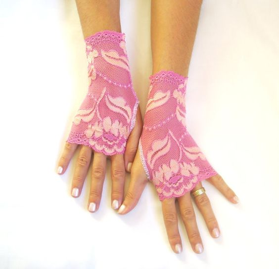 Dreams of pink cream pink lace gloves free ship by GlovesByJana, $23.00