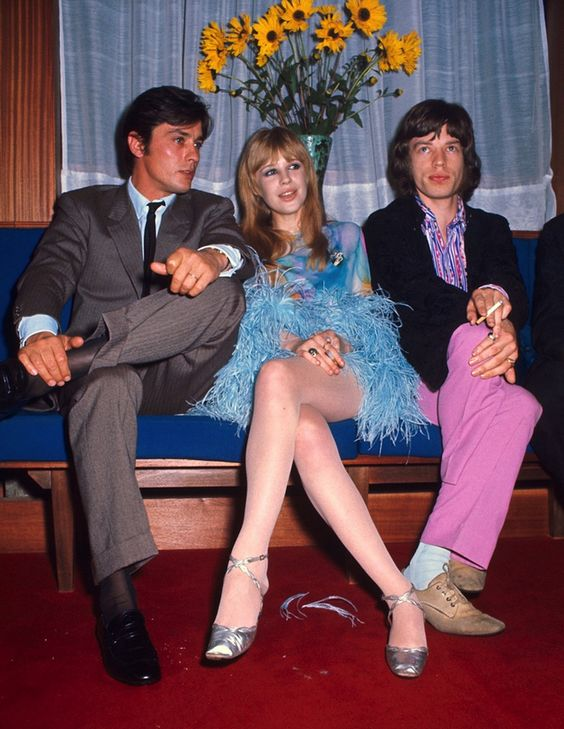 Alain Delon, Marianne Faithfull and Mick Jagger