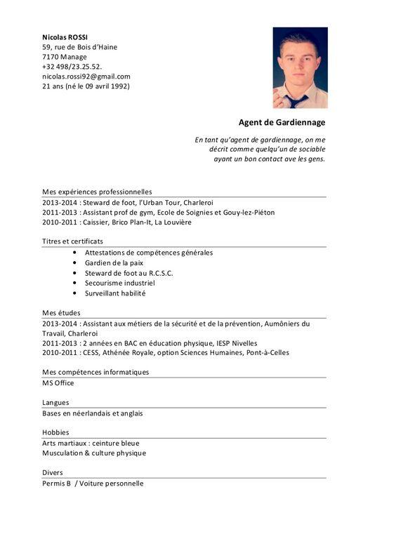 cv agent de gardiennage Cv agent de gardiennage Pinterest - europass curriculum vitae