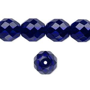 Bead, Preciosa® Czech fire-polished glass, cobalt, 12mm faceted round. Sold per 16-inch strand.