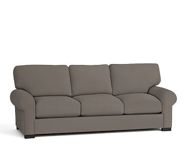 Turner Roll Arm Upholstered Love Seat, Down Blend Wrapped Cushions, Twill Metal Gray