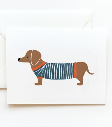 {dachshund in a striped sweater} nothin' cuter! by rifle paper co.