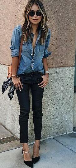 Denim button down + black skinny jeans.