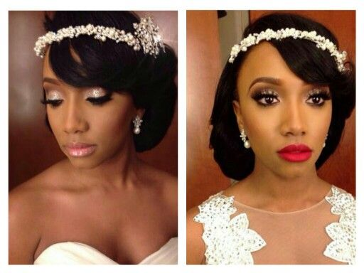 White Black And Gold Wedding Make Up. Ceremony Make Up And Reception Make Up. African American ...