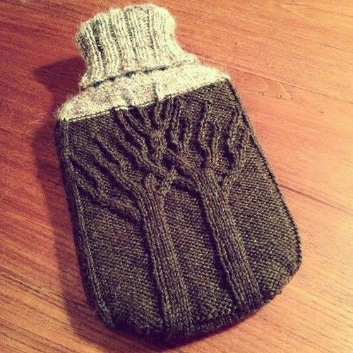 farmgroupie:  Hot water bottle cover ready for snuggling. #knit #knitting #textile #yarn #trees #cozy #wool