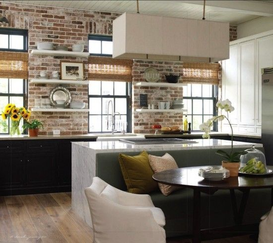 Modern kitchen diner banquette upholstered bench grey gray green white exposed brick