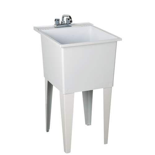 Fiat Residential Floor Mount Polyethylene Laundry Sink P1100 White