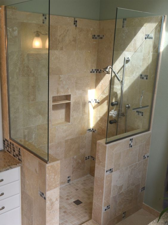 Bathroom Awesome Remodeling Custom Doorless Shower Designs With Glass Cubicl