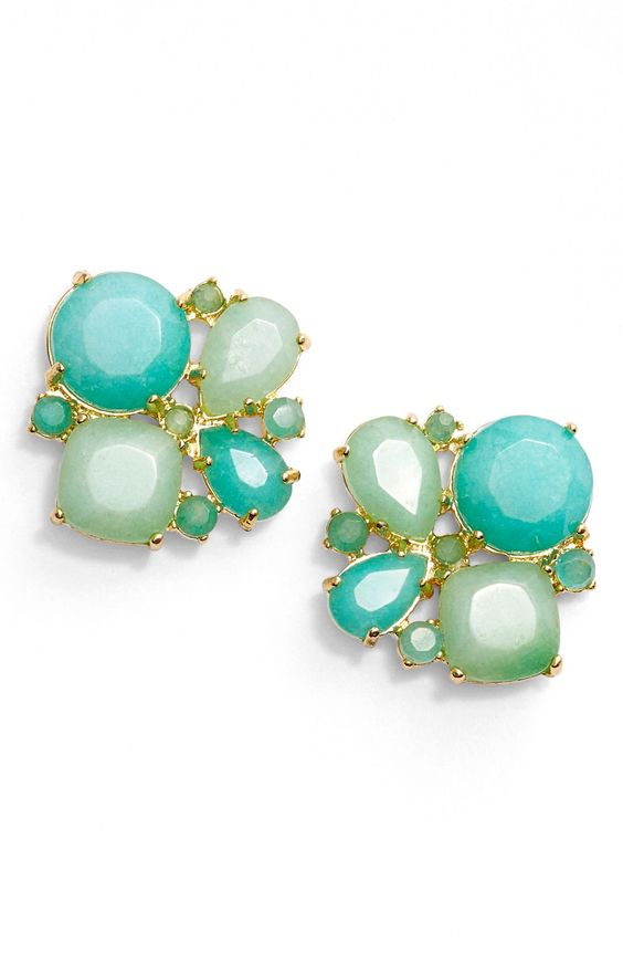 sparkle mint cluster earrings