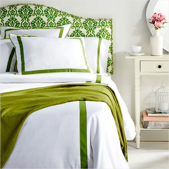Update the bedroom for spring in green & white.