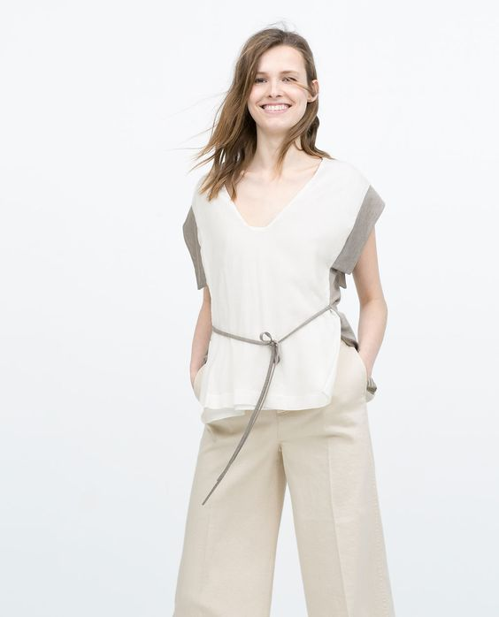 Image 2 of CONTRAST KIMONO T-SHIRT from Zara