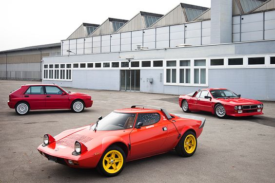 What is the awesome level of this picture? It's over 1 million! Lancia Delta Integrale Evo 2, Lancia 037 and Lancia Stratos! #lancia #italiandesign