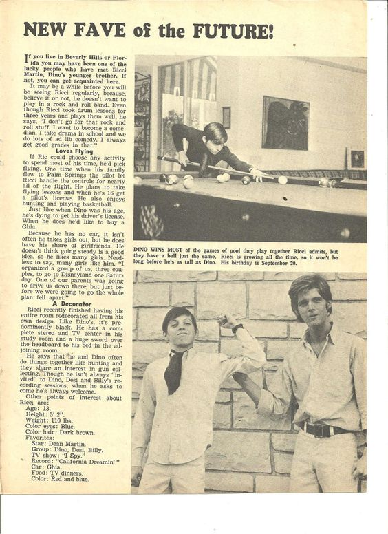 Ricci Martin, Dino, Desi and Billy, Full Page Vintage Clipping: