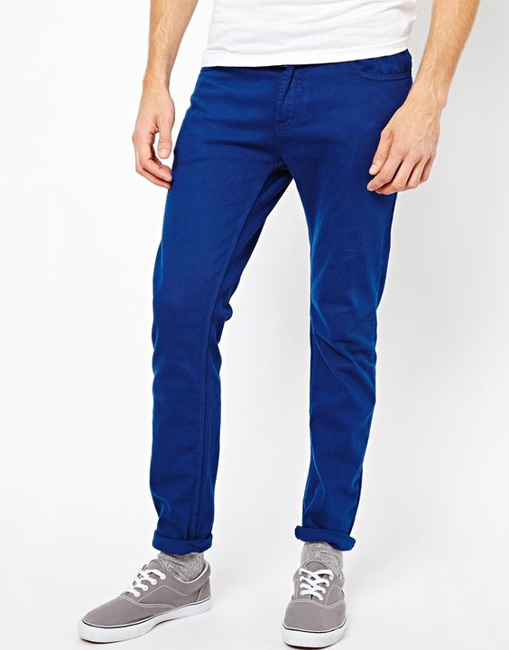 Men's Skinny Fit Jeans In Cobalt Blue - Buy Mens Jeans In Bangkok ...