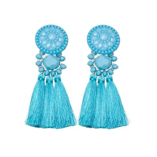 BLUE STATEMENT TASSEL DROP EARRING: