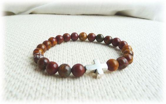 Picasso Jasper and Cross bead bracelet  for man - Mens Jewelry £16.45
