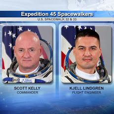 Watch NASA TV now for live coverage of a six-hour, 30-minute spacewalk with NASA astronauts Scott Kelly and Kjell Lindgren. Japanese astronaut Kimiya Yui will monitor the duo during the spacewalk. Russian cosmonaut Sergey Volkov will help the spacewalkers with suit up activities... http://www.nasa.gov/nasatv
