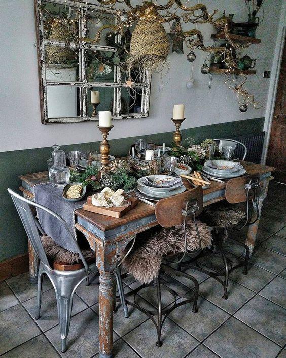 Mesa con estilo rústico