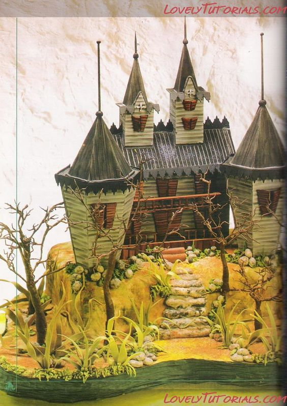 3d frankenstein 39 s house cake tutorial with template this. Black Bedroom Furniture Sets. Home Design Ideas