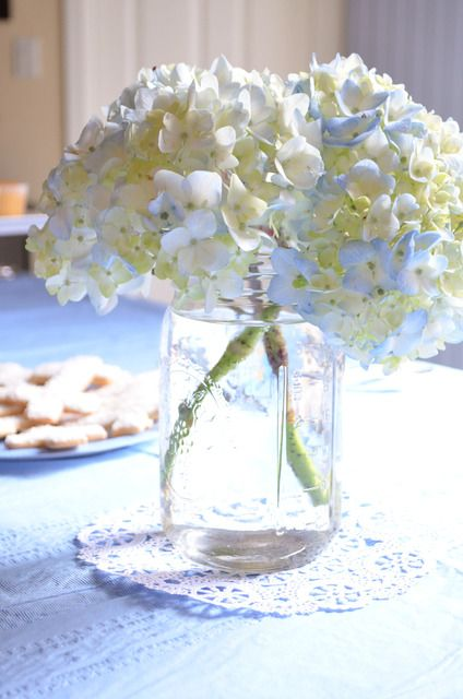 Baby blue and silver grey baptism party ideas jars
