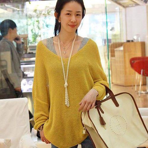 Women V Neck Oversized Batwing Knitted Top Jumper Sweater Knitwear Pullover Coat | eBay