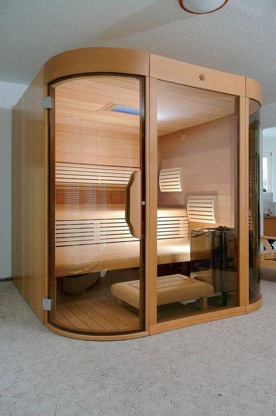 Saunas sauna design and home on pinterest for Bathroom with sauna plans