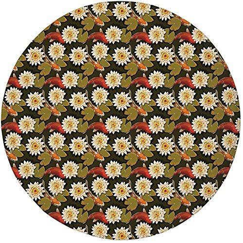 W Wee Tapis Rond Tapis Tapis Poisson Carpe Japonais Asiatique Carpe Avec Fleurs De Lotus Culture Orientale Nature Sacree Terre De En 2020 Tapis Rond Tapis De Sol