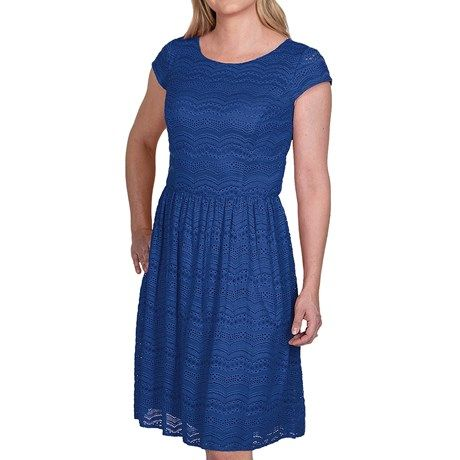 Chetta B Textured Lace Overlay Dress - Short Sleeve - NEVER thought I would ever wear, let alone OWN a blue lace dress...but this is one of the MOST adorable and comfortable dresses in my closet!