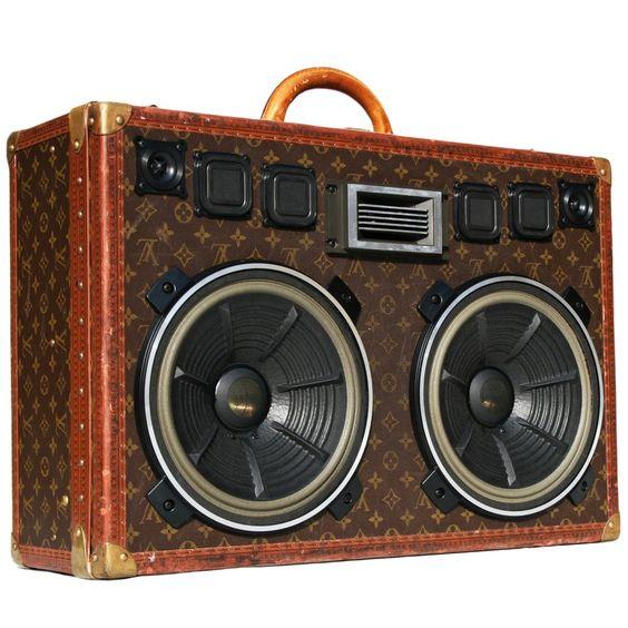"Vintage Louis Vuitton ""Bisten 60"" Suitcase Turned BoomCase"
