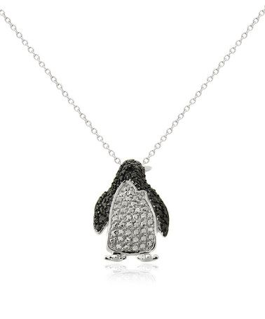 Diamond & Silvertone Penguin Pendant Necklace #zulily #zulilyfinds