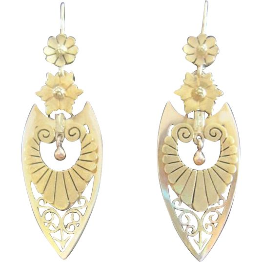 Victorian 14k yellow gold shield star and flower dangle earrings - found at www.rubylane.com @rubylanecom