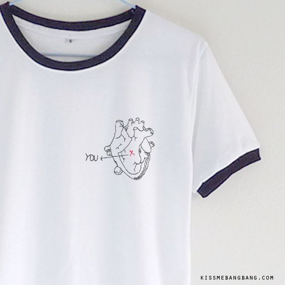 You X Heart Ringer T-shirt ; Tumblr Shirt ; Teen T-shirt ; Tumblr Fashion KISSMEBANGBANG.COM