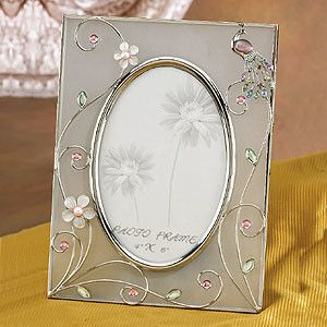 Jewel Peacock White Floral Design Picture Frame Collectible Photograph - farmhouse - Frames - StealStreet