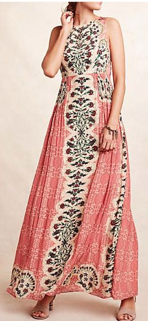 beautiful coral maxi dress