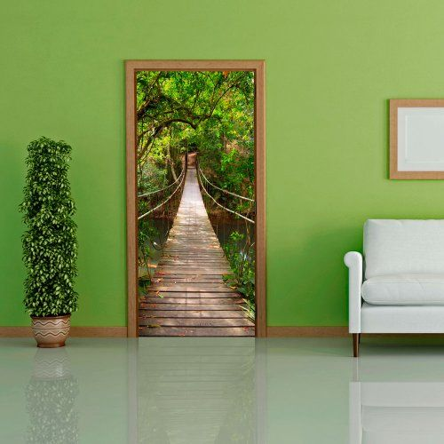 Door wallpaper with nature motif bridge to eden non for Door mural wallpaper