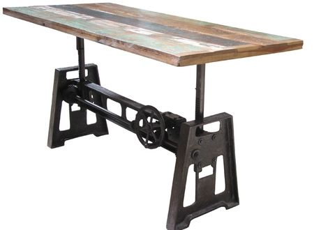 amazing reclaimed wood and iron crank table it adjusts
