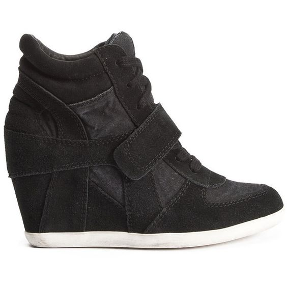 Ash Bowie Canvas and Suede Wedge Trainer - Black ($230) ❤ liked on Polyvore featuring shoes, sneakers, sapatos, heels, wedges, black, heel sneakers, wedge heel shoes, black canvas shoes and black suede sneakers