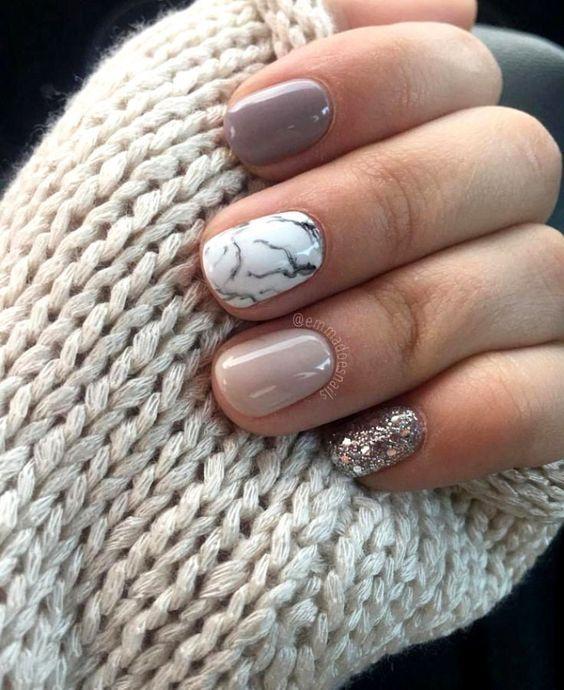秋冬显白美甲款式,美甲
