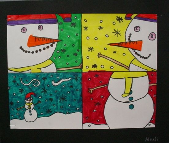 Point of view snowmen- Love this idea | grade 3-5 art projects ...