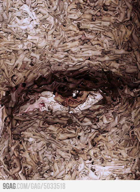 Naked people forming an eye.