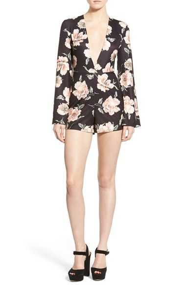 Missguided Floral Print Plunge Romper available at #Nordstrom